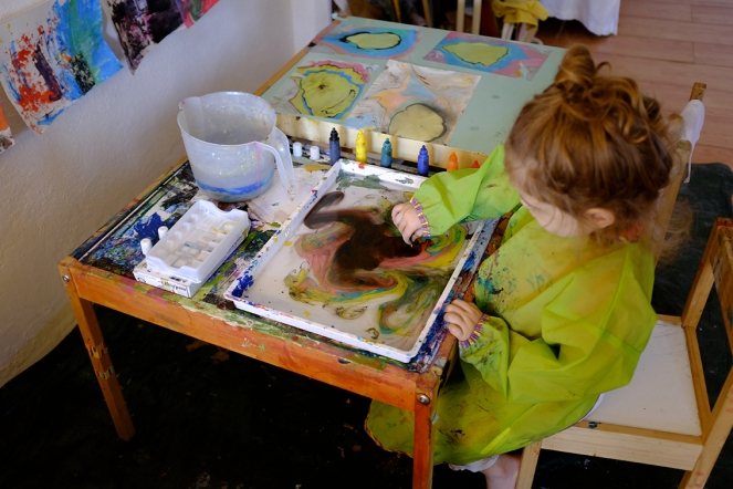 Child using Marbling Ink for Japanese Suminagashi