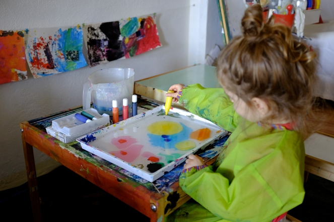 Kid using Marbling Ink Kit for Japanese Suminagashi